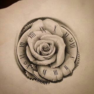 Clock and rose tattoo                                                                                                                                                     More
