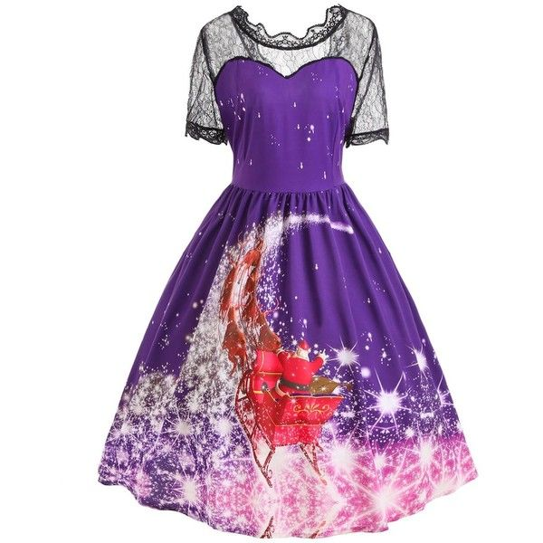 Plus Size Christmas Santa Claus Lace Panel Dress ($24) ❤ liked on Polyvore featuring dresses, rosegal, christmas day dress, womens plus dresses, plus size christmas dresses, christmas dresses and purple dresses