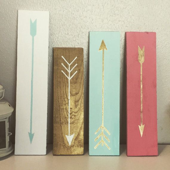 Custom arrow signs follow your arrow gold by AmbersWoodenBoutique