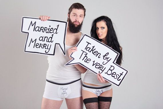 White married and merry couples underwear set funny