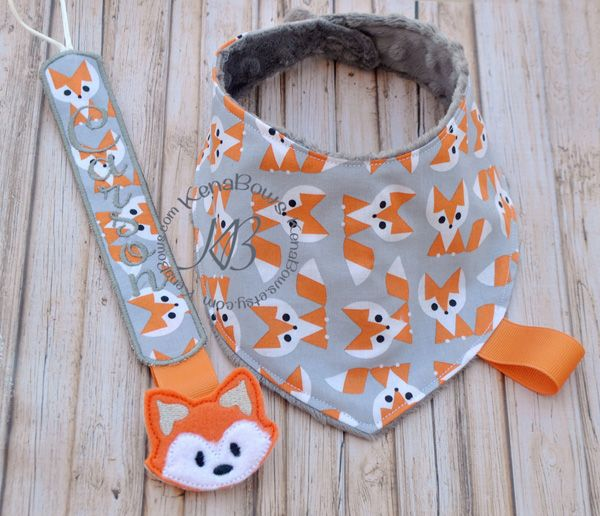 Baby Bib, Mr. Fox Bib, Fox Bib, Bandana Bib, Baby Shower Gift, Binky Clip-Baby Bib, Mr. Fox Bib, Fox Bib, Bandana Bib, Baby Shower Gift, Binky Clip, Pacifier Clip, Boys Bib, Drool Bib, Baby, Fox, Woodland Critters, Mr Fox, Forest Fox, Paci Clip, Binky Holder