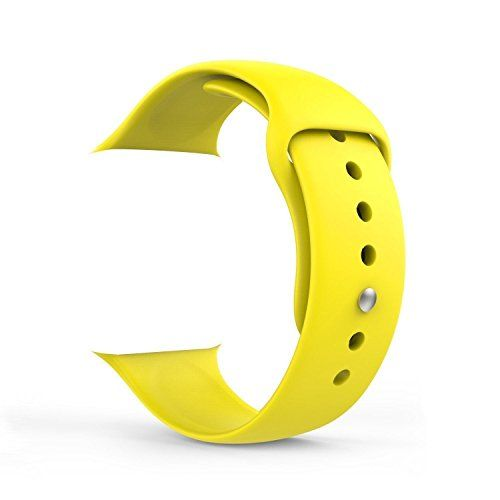 Huanlong New Soft Silicone Sport Style Replacement Iwatch Strap Band for Apple Wrist Watch Series 1 Series 2 (Yellow 42mm S/M)