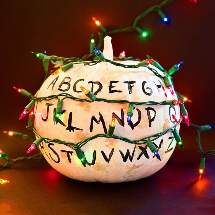 Nobody wants a basic pumpkin this year, it's 2016, people! Find the roundest pumpkin you can and with a little bit of paint, transform it into a Strangers Things pumpkin. Click through to see 26 other non-basic, super awesome DIY pumpkins.