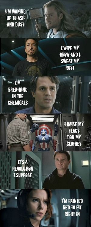 """Radioactive"" lyrics from Imagine Dragons/images from the Avengers. Two of my favorite things! Awesome! (*Boom!*)"