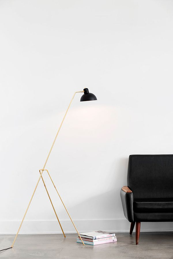 Grue floor lamp in unfinished brass by montreal based design studio lambert fils