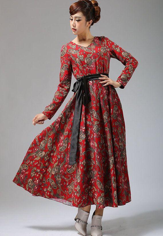 ethnic print maxi dress linen dress A-line dress (693)