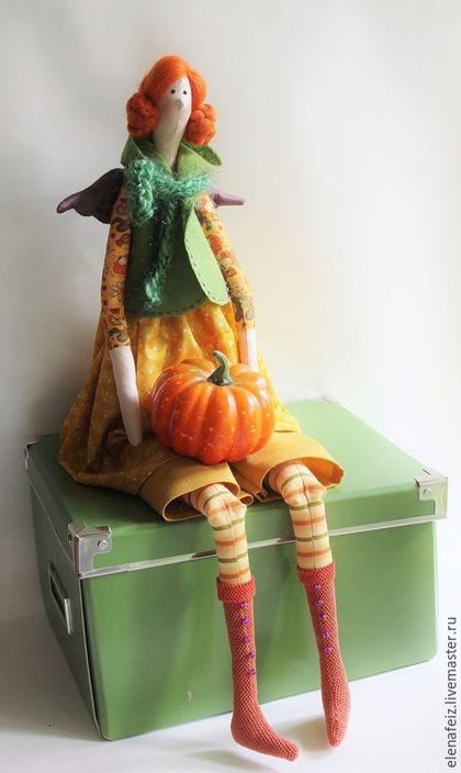 Куклы Тильды ручной работы. Заказать Варвара  с тыквой. МагазинПодаркоФФ ЛеныФейзрахмановой. Ярмарка Мастеров. Осень, тыквенный, кукла текстильная