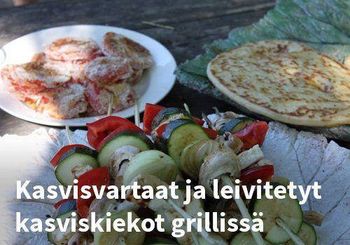 Kasvisvartaat ja leivitetyt kasviskiekot grillissä #kauppahalli24 #reseptit #helpompiarki #kasvisvartaat #grilliruoka #ruokaanetistä