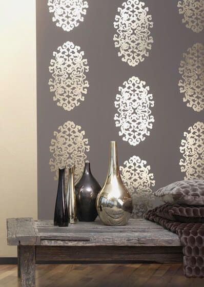 gold metallic wallpaper on solid brown - Wall Paper Interior Design