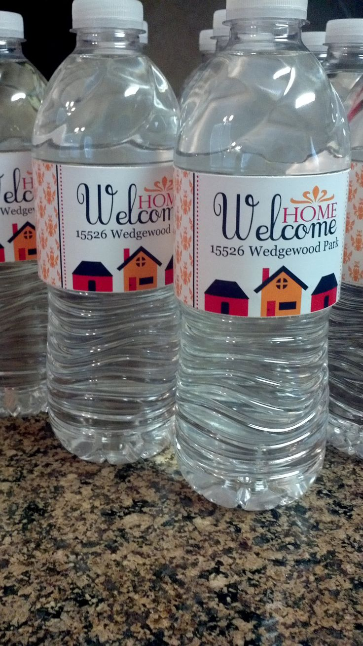"custom water bottle labels from Anything But Perfect.....Used these as ""gifts"" at our open house for agents and people viewing our home. http://www.etsy.com/listing/81998523/welcome-home-water-bottle-labels?ref=pr_shop"
