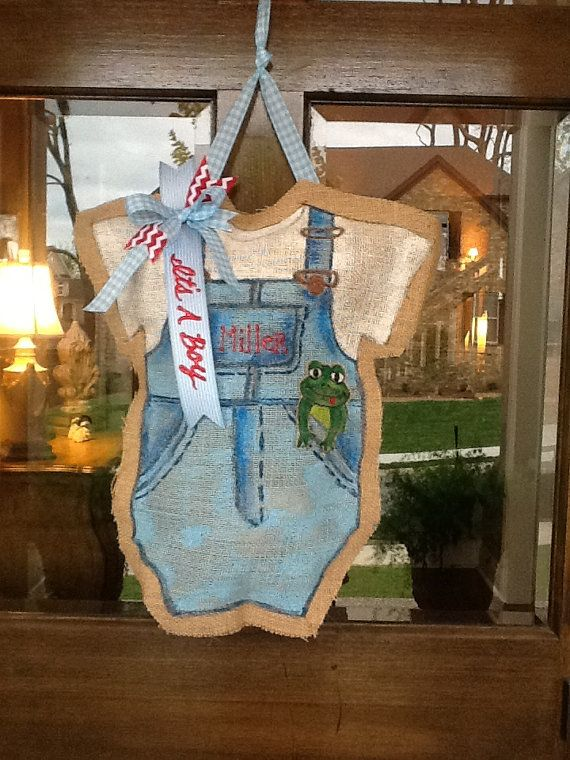 Baby boy burlap door hanger for Baby shower front door decoration ideas