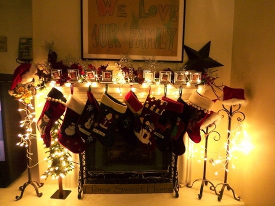 Stockings on a fireplace