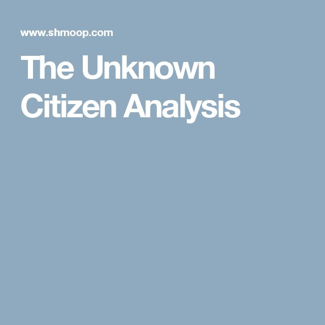The Unknown Citizen Analysis