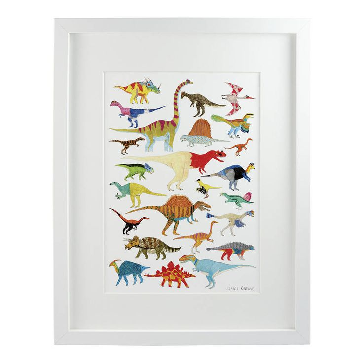 Brighten up your home with this print of dinosaurs, with colours inspired by reptiles living today.Available in A3 and A4.This bright, colourful and nostalgic print will complement the wall of dinosaur enthusiasts and natural history lovers of any age, and everyone else. Made in the UK. Signed giclée print of original artwork by James Barker. This print is sold unframed. All prints are carefully packaged in a protective sleeve and shipped in solid double-boarded envelopes.Printed on high…