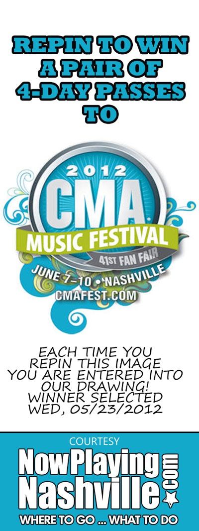 REPIN TO WIN a pair of 4-day passes to the 2012 CMA Music Festival. Winners will be selected on Wed, 05/23. For more information about this year's CMA Music Festival in Downtown Nashville and the activities surrounding it, click here: http://ow.ly/aEJRf: Cma Music, Country Music, 2012 Cma, Http Ow Ly Aejrf Nashville, Http Ow Ly Aejrf Country, Countrymusic Heart, Books Music Show, Music Festivals, Activities Surroundings