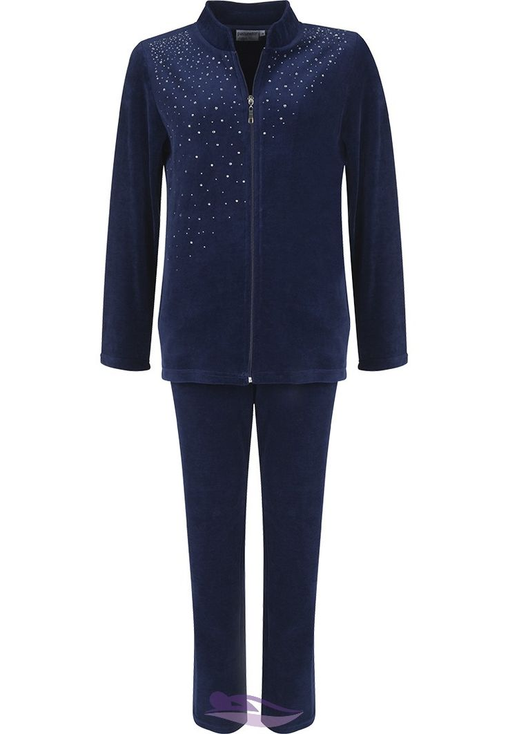 Treat yourself to this Pastunette Deluxe luxury 'Diamanté Sparkle' peacoat blue velvet homesuit