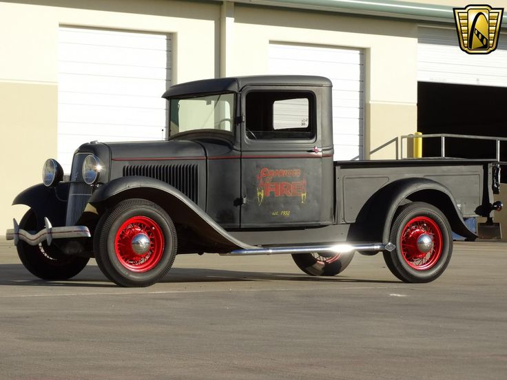 Sitting in flat black with bright red real wire wheels, this 1933 Ford Pickup for sale has the look and enough history behind it to be one of the coolest at the show - See more at: http://gatewayclassiccars.com/houston/1933/ford/pickup-S271.html#sthash.5fmOxqdB.dpuf