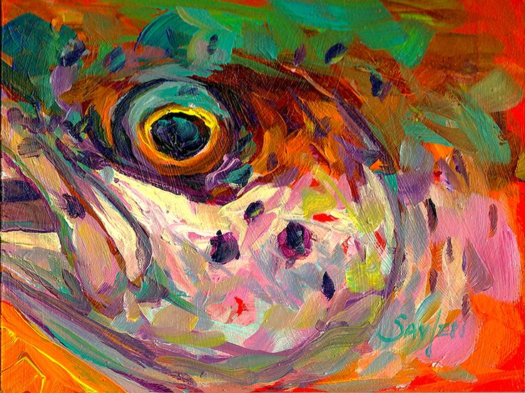 Rainbow trout by mike salven flyfishing fly fishing art for Fish paintings on canvas