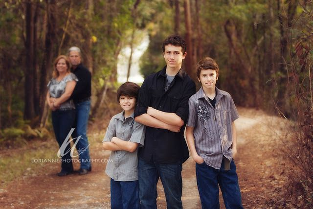 Pose for Family of 5 with three boys