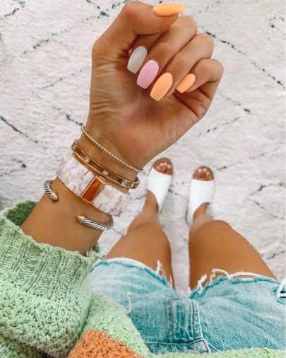 Nail Inspo – Rainbow sherbet summer nail inspo – Nail Inspo  – Summer Nails – Di…