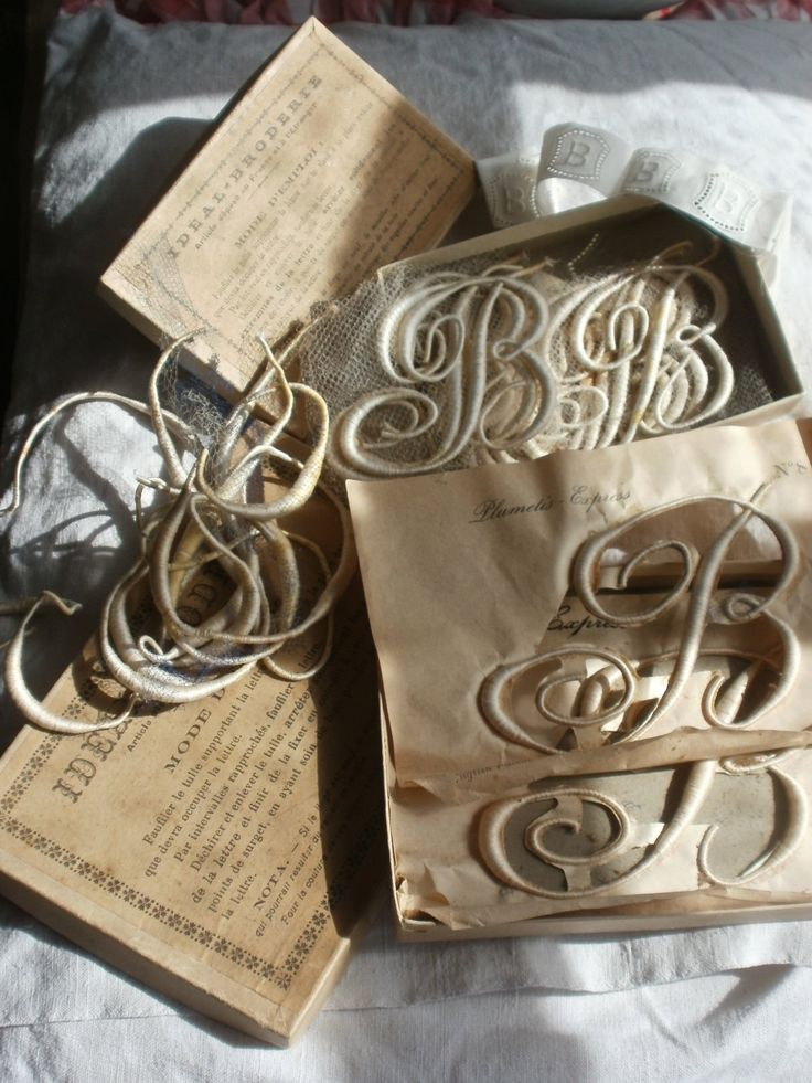Collection of Antique Lace Appliques. Monogram B, Vintage Wedding Furnishings French Applique Boxes by BrocanteArt on Etsy