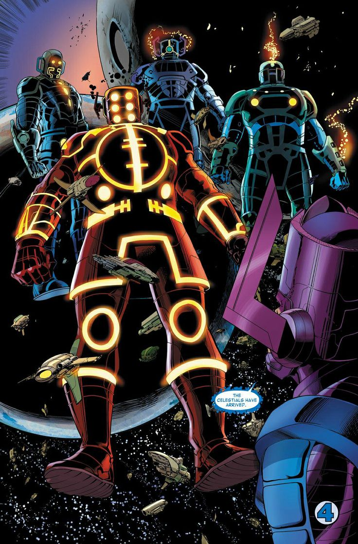 Celestials, these giant character would terrify the life out of anyone who saw them as that have amazing armour designs and show the universe what true power is.