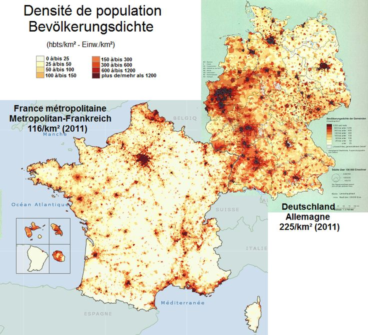 Population density in France and Germany, 2011.
