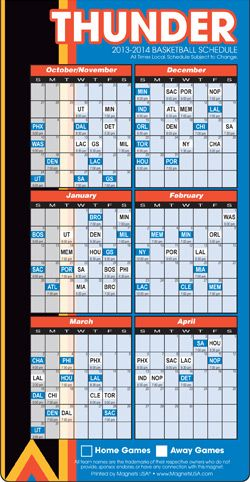 Oklahoma City Thunder Basketball Schedule