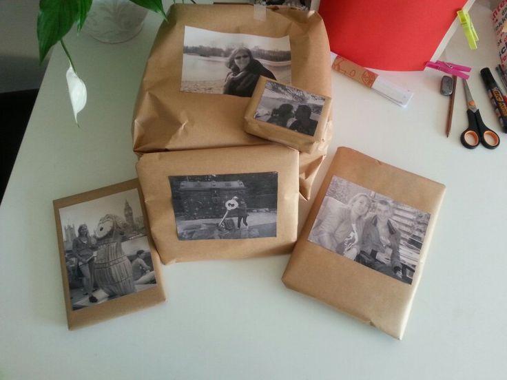 Inpakpapier met foto voor onder de kerstboom