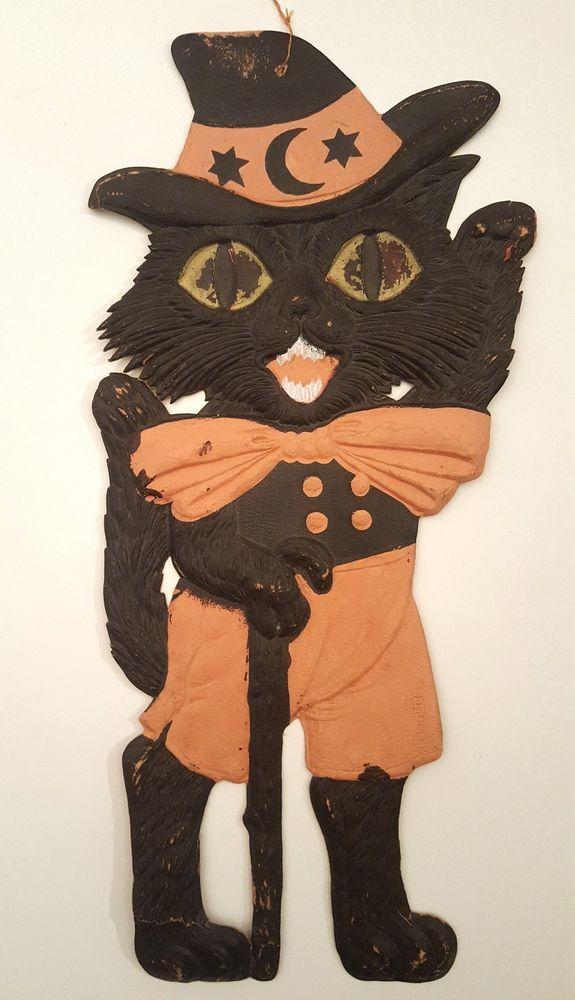 Germany black cat vintage halloween decoration antique die-cut