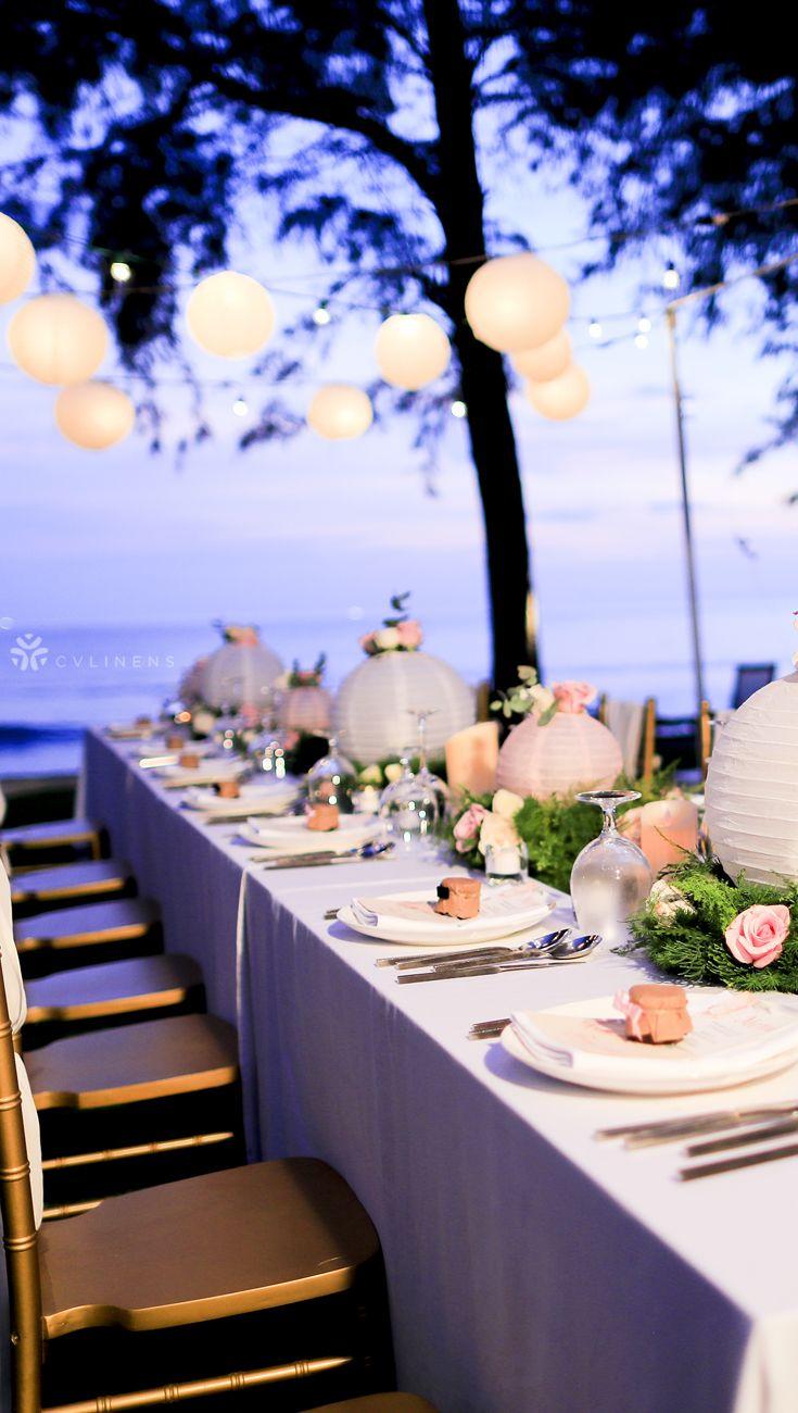 90 X132 Rectangular Oblong Polyester Tablecloth White Wedding