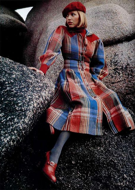 Model wearing a plaid coat dress by Cacharel, 1970s