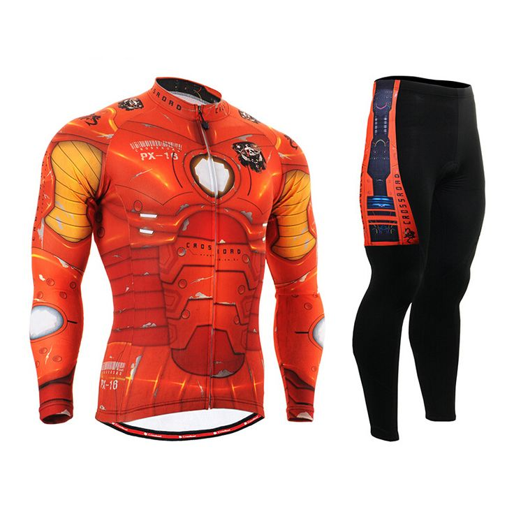 ==> [Free Shipping] Buy Best MTB Men Cycling Jersey Breathable Ironman Bike Clothing Sets Long Sleeve Super Hero Cycling Clothing Orange Avengers Online with LOWEST Price | 32271412992