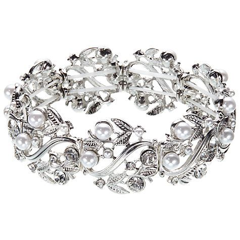 Buy John Lewis Stretch Faux Pearl and Diamante Bracelet, Silver Online at johnlewis.com