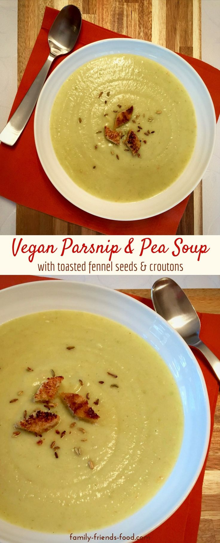 A creamy and delicious parsnip soup, with sweet green peas and a subtle fennel flavour. Crunchy croutons and toasted fennel seeds are a perfect garnish. #vegan #veganuary #soup