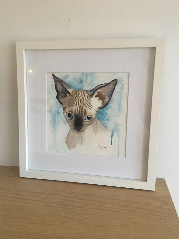 Watercolor art cat