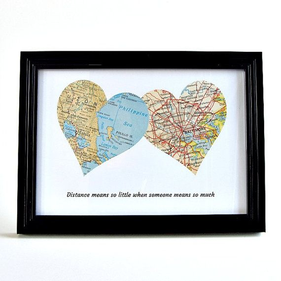 Long Distance Map Hearts / Christmas Gifts von salvagedstudiomke