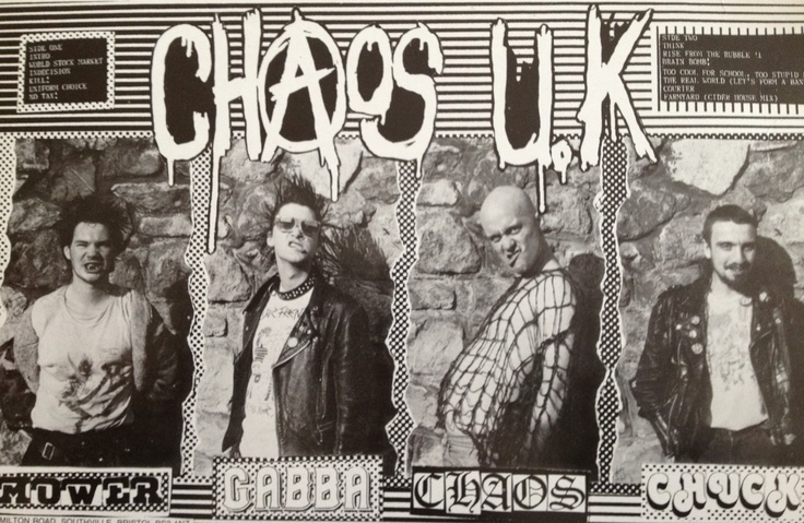 "Chaos UK (1987) inlay from ""The Chipping Sodbury Bonfire Tapes"" LP"