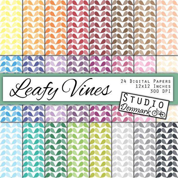 Leafy Vines Digital Paper - 24 Colors Leaf Digital Paper - Commercial Use - 12in x 12in - Instant Download Leaves Digital Paper #handmade #etsymnt