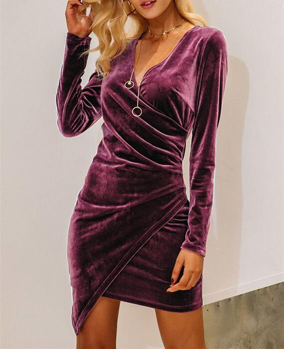 6058a1dce81a Long Sleeve Deep V-neck Velvet Bodycon Dress in 2019