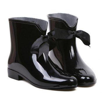 Sweet Solid Color and Ribbon Design Rain Boots For Women, BLACK, 40 in Boots | DressLily.com