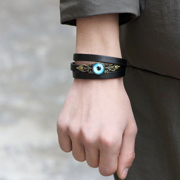 Vintage Men Women Genuine Leather Multilayer Bracelet Punk Evil Eye Charm Adjustable Wristband