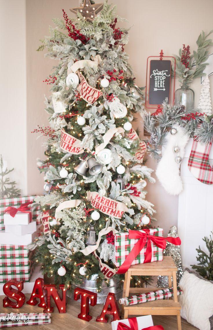 Christmas Tree Flocked Treet Red And White Ornaments Farmhouse Style Rustic Style Classic Christmas Tree Christmas Tree Design Cool Christmas Trees