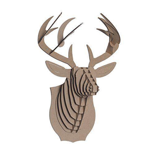 Cardboard Deer Head Safari Bucky Brown Mounted Head Taxidermy Stuffed Gift Santa #CardboardSafari