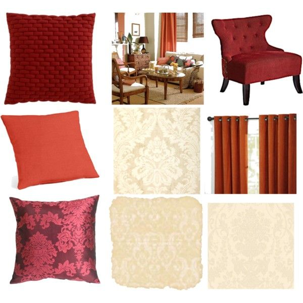 My image for our (Paul and I) living room...tan walls with light damask, burnt orange curtains, tan/light brown furniture, maroon and burnt orange decor with lil damask! :)) perrrfecto!