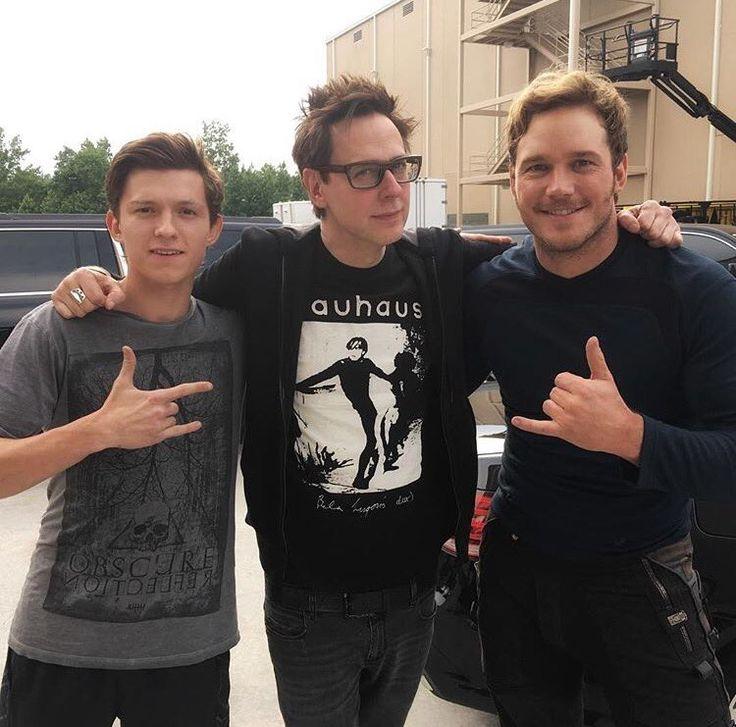 Chris Pratt with Tom Holland and James Gunn