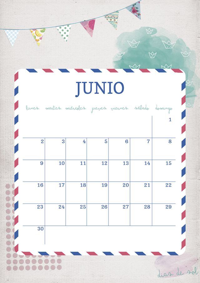 imprimible: calendario junio  Printable calendar: june. Also available in wallpaper