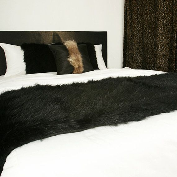 Elivate your bed with Handmade Decorative Black Faux Fur Soft Bed Runner Accent Bed Scarf 27W X 86L   Made to Order / Custom Made for U   Can be