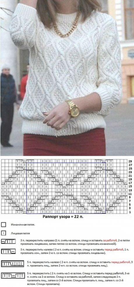 Узор для женского пуловера спицами - схема