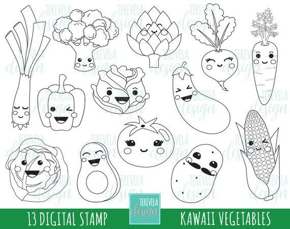Vegtables Stamp Pack Includes 13 Cute Graphics Personal And Small Commercial Use This Stamp Pack Is Perfec Frutas Para Colorear Verduras Dibujo Sello Digital